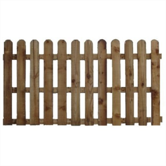 Round Top Picket Fence Panel - 6'x3'
