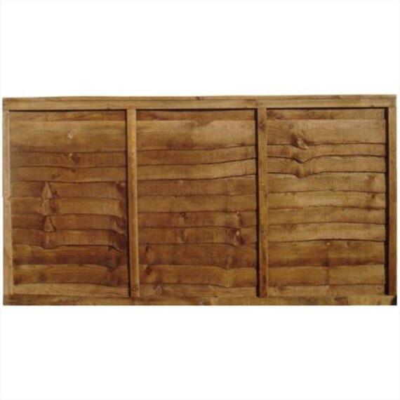Waney Lap Fence Panel - 6'x3'